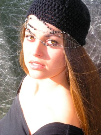 Beret with Chains - Organic Cotton and Recyclabe Beads