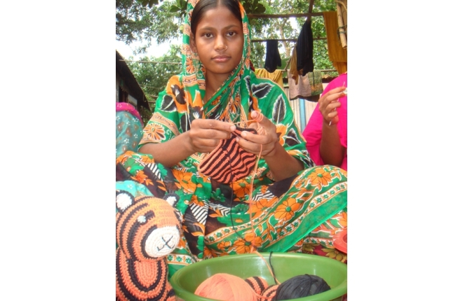 Indian Woman Knitting