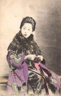 Japanese Woman Knitting