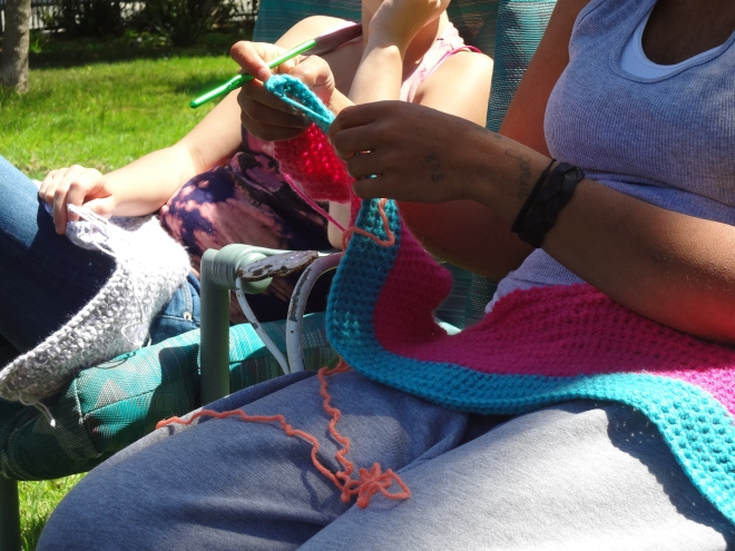 Girls Crocheting