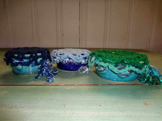 3 Blue and Green EyeBowls