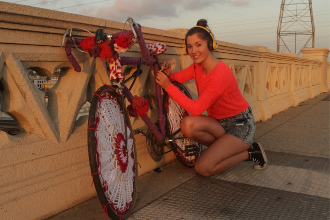 Carmen working on Bike