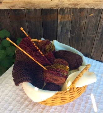 Knitting Basket - Brown Scarf