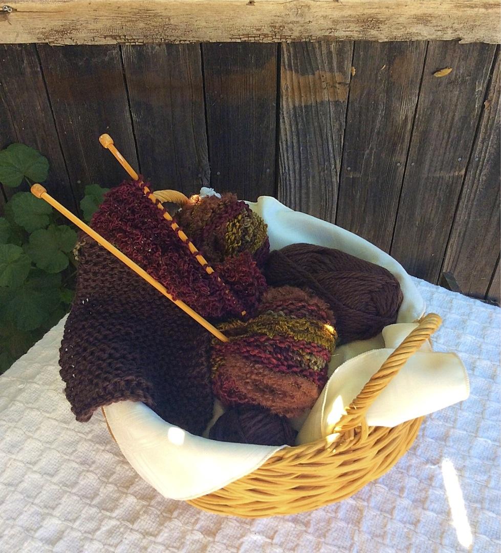 Knitting Basket - Brown Scarf